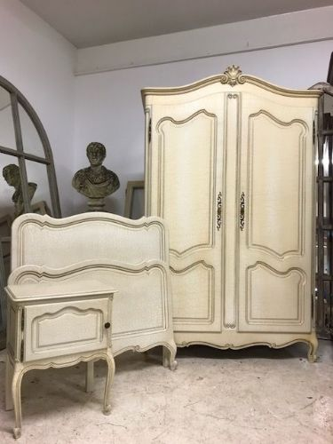 Vintage Painted French Bedroom suite - ARMOIRE SOLD - a89